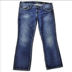 Silver Frances Capri Jeans Medium Wash Blue